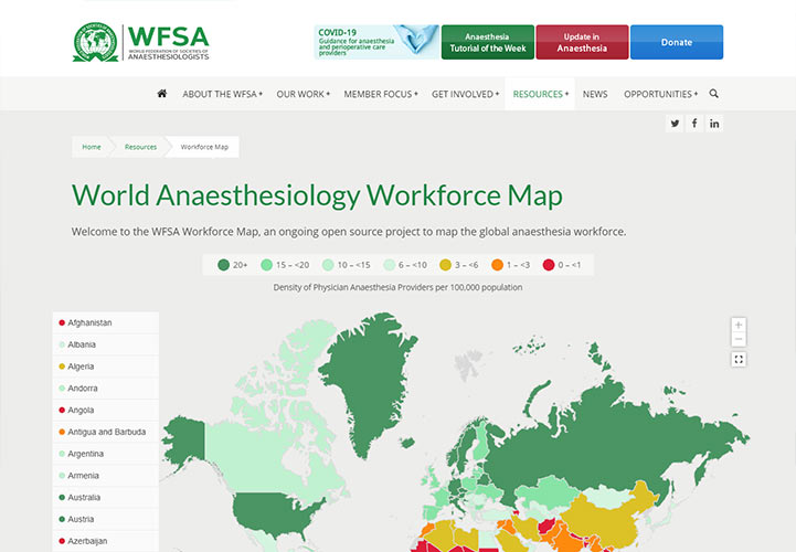 WFSA, Medical Charity. Desktop view